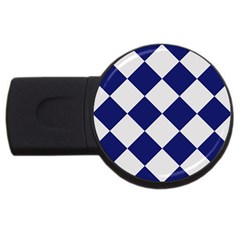 Harlequin Diamond Argyle Sports Team Colors Navy Blue Silver 4gb Usb Flash Drive (round) by CrypticFragmentsColors