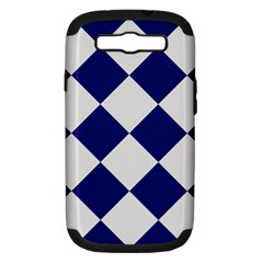 Harlequin Diamond Argyle Sports Team Colors Navy Blue Silver Samsung Galaxy S Iii Hardshell Case (pc+silicone) by CrypticFragmentsColors