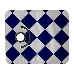Harlequin Diamond Argyle Sports Team Colors Navy Blue Silver Samsung Galaxy S  Iii Flip 360 Case by CrypticFragmentsColors