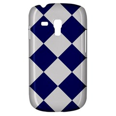 Harlequin Diamond Argyle Sports Team Colors Navy Blue Silver Samsung Galaxy S3 Mini I8190 Hardshell Case by CrypticFragmentsColors