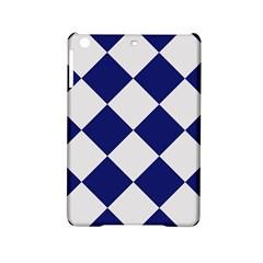 Harlequin Diamond Argyle Sports Team Colors Navy Blue Silver Apple Ipad Mini 2 Hardshell Case by CrypticFragmentsColors