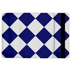 Harlequin Diamond Argyle Sports Team Colors Navy Blue Silver Apple Ipad Air 2 Flip Case by CrypticFragmentsColors