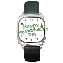 Happy St Patricks Text With Clover Graphic Square Leather Watch by dflcprints