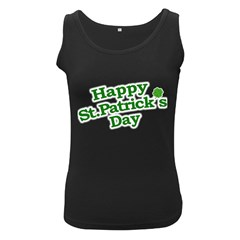 Happy St Patricks Text With Clover Graphic Women s Tank Top (Black) by dflcprints