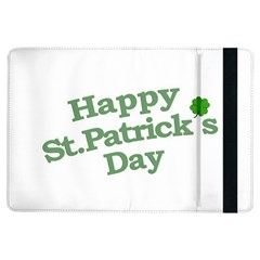 Happy St Patricks Text With Clover Graphic Apple Ipad Air Flip Case by dflcprints