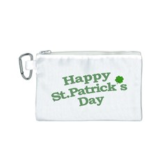 Happy St Patricks Text With Clover Graphic Canvas Cosmetic Bag (small) by dflcprints