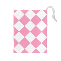 Harlequin Diamond Pattern Pink White Drawstring Pouch (large) by CrypticFragmentsColors