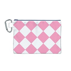 Harlequin Diamond Pattern Pink White Canvas Cosmetic Bag (medium) by CrypticFragmentsColors