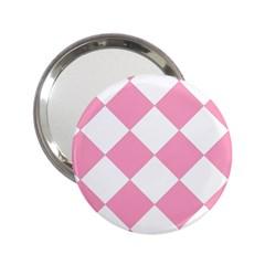 Harlequin Diamond Pattern Pink White Handbag Mirror (2 25 ) by CrypticFragmentsColors