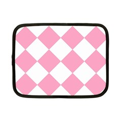 Harlequin Diamond Pattern Pink White Netbook Sleeve (small) by CrypticFragmentsColors