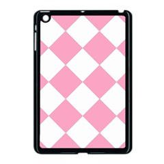 Harlequin Diamond Pattern Pink White Apple iPad Mini Case (Black) by CrypticFragmentsColors