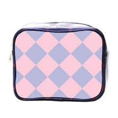 Harlequin Diamond Argyle Pastel Pink Blue Mini Travel Toiletry Bag (one Side) by CrypticFragmentsColors