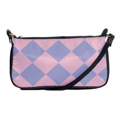 Harlequin Diamond Argyle Pastel Pink Blue Evening Bag by CrypticFragmentsColors