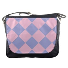 Harlequin Diamond Argyle Pastel Pink Blue Messenger Bag by CrypticFragmentsColors