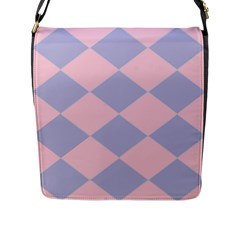 Harlequin Diamond Argyle Pastel Pink Blue Flap Closure Messenger Bag (large) by CrypticFragmentsColors