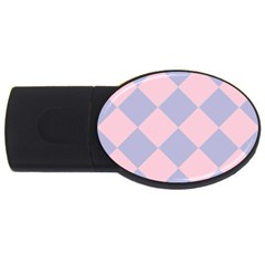 Harlequin Diamond Argyle Pastel Pink Blue 4gb Usb Flash Drive (oval) by CrypticFragmentsColors