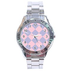 Harlequin Diamond Argyle Pastel Pink Blue Stainless Steel Watch by CrypticFragmentsColors