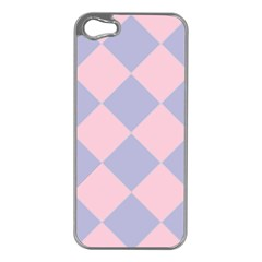 Harlequin Diamond Argyle Pastel Pink Blue Apple Iphone 5 Case (silver) by CrypticFragmentsColors