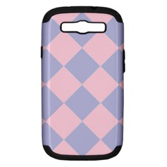 Harlequin Diamond Argyle Pastel Pink Blue Samsung Galaxy S Iii Hardshell Case (pc+silicone) by CrypticFragmentsColors