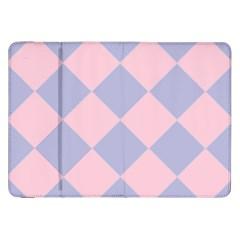 Harlequin Diamond Argyle Pastel Pink Blue Samsung Galaxy Tab 8 9  P7300 Flip Case by CrypticFragmentsColors