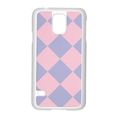 Harlequin Diamond Argyle Pastel Pink Blue Samsung Galaxy S5 Case (white) by CrypticFragmentsColors