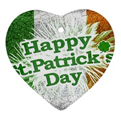 Happy St  Patricks Day Grunge Style Design Heart Ornament by dflcprints