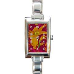 Tropical Hawaiian Style Lilies Collage Rectangular Italian Charm Watch by dflcprints