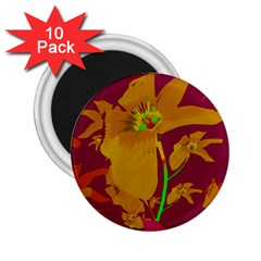 Tropical Hawaiian Style Lilies Collage 2.25  Button Magnet (10 pack) by dflcprints