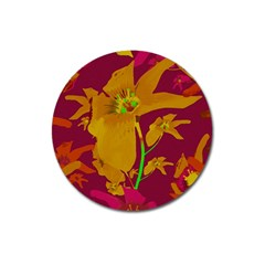 Tropical Hawaiian Style Lilies Collage Magnet 3  (round) by dflcprints