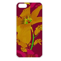 Tropical Hawaiian Style Lilies Collage Apple Iphone 5 Seamless Case (white) by dflcprints