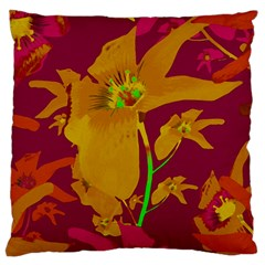 Tropical Hawaiian Style Lilies Collage Large Flano Cushion Case (one Side) by dflcprints