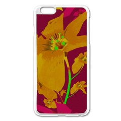 Tropical Hawaiian Style Lilies Collage Apple Iphone 6 Plus Enamel White Case by dflcprints