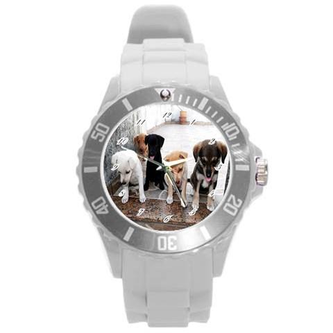 Wrist Watch Puppy  By Pamela Sue Goforth   Round Plastic Sport Watch (l)   Xm6ziqxarz6x   Www Artscow Com Front