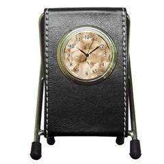 Elegant Floral Pattern In Light Beige Tones Stationery Holder Clock by dflcprints