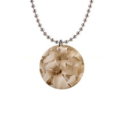 Elegant Floral Pattern In Light Beige Tones Button Necklace by dflcprints