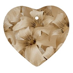 Elegant Floral Pattern In Light Beige Tones Heart Ornament (two Sides) by dflcprints