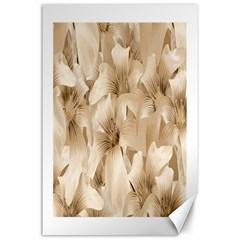 Elegant Floral Pattern In Light Beige Tones Canvas 24  X 36  (unframed) by dflcprints