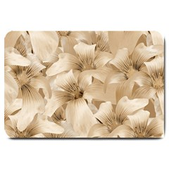 Elegant Floral Pattern In Light Beige Tones Large Door Mat by dflcprints