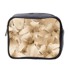 Elegant Floral Pattern In Light Beige Tones Mini Travel Toiletry Bag (two Sides) by dflcprints