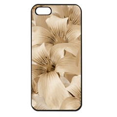 Elegant Floral Pattern In Light Beige Tones Apple Iphone 5 Seamless Case (black) by dflcprints
