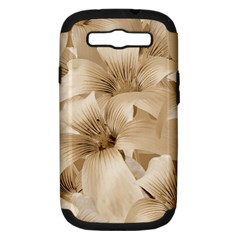 Elegant Floral Pattern In Light Beige Tones Samsung Galaxy S Iii Hardshell Case (pc+silicone) by dflcprints