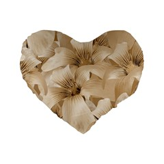 Elegant Floral Pattern in Light Beige Tones 16  Premium Flano Heart Shape Cushion  by dflcprints