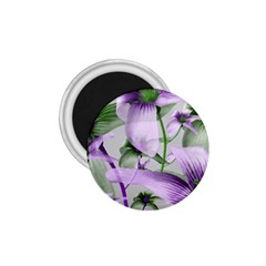 Lilies Collage Art In Green And Violet Colors 1 75  Button Magnet by dflcprints