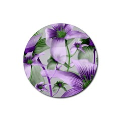 Lilies Collage Art In Green And Violet Colors Drink Coasters 4 Pack (round) by dflcprints