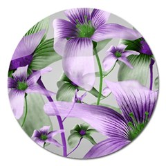 Lilies Collage Art In Green And Violet Colors Magnet 5  (round) by dflcprints