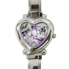 Lilies Collage Art In Green And Violet Colors Heart Italian Charm Watch  by dflcprints
