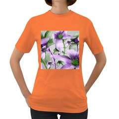Lilies Collage Art In Green And Violet Colors Women s T Shirt (colored) by dflcprints