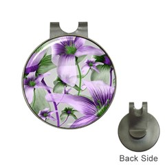 Lilies Collage Art In Green And Violet Colors Hat Clip With Golf Ball Marker by dflcprints