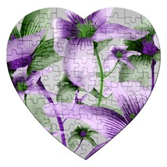 Lilies Collage Art In Green And Violet Colors Jigsaw Puzzle (heart) by dflcprints
