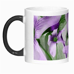 Lilies Collage Art In Green And Violet Colors Morph Mug by dflcprints